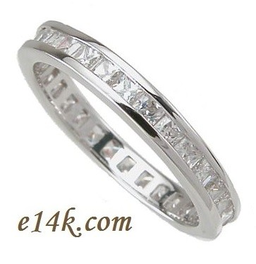 eternity bands stone each carat gold cz in cubic cut white band shape total u asscher zirconia
