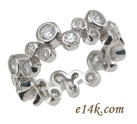 Sterling Silver 1.50 cttw Round Brilliant Cubic Zirconia Bezel Style Eternity Ring / Band - Product Image