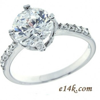 "Solid .925 Sterling Silver 2.10 cttw Round Brilliant ""Petals"" Engagement Ring  - Product Image"