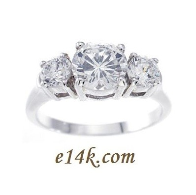 Sterling Silver 3 Stone Round Brilliant CZ Past-Present-Future Cubic Zirconia Anniversary Engagement Ring - Product Image