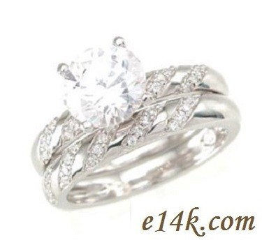 "Sterling Silver 4 Prong CZ/Cubic Zirconia ""Sabrina"" Engagement Ring and Matching Wedding Band - Product Image"