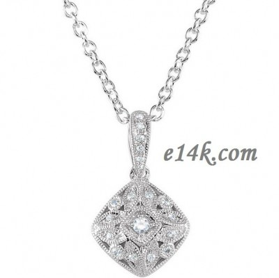 Sterling Silver .925 Antique Style Russian CZ Cubic Zirconia Pendant w/ 18inch chain - Product Image