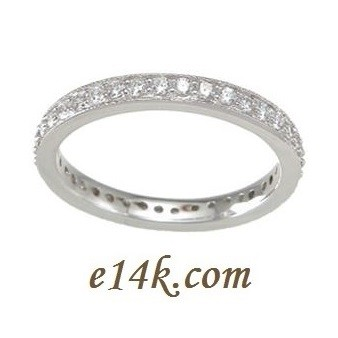 Sterling Silver Antique Cubic Zirconia Stackable Eternity Ring - Product Image