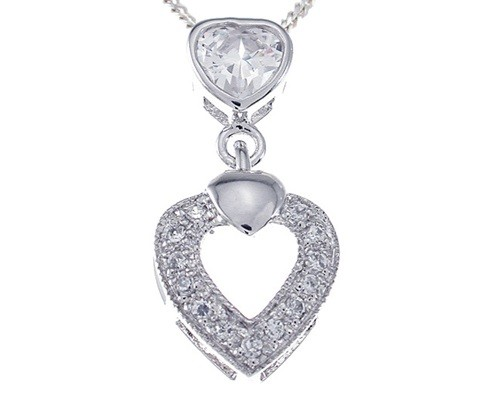 Sterling Silver Antique Style Pave' Set Russian CZ Cubic Zirconia Dangle Heart Pendant w/ Chain - Product Image