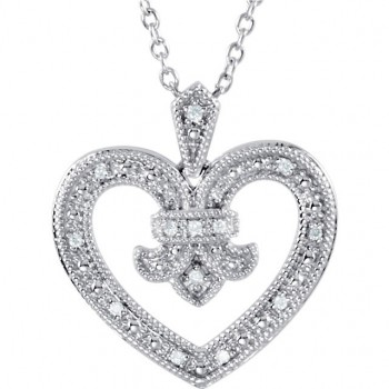 Sterling Silver Antique Vintage Fleur de lis Heart Diamond Pendant w/ Chain - Product Image