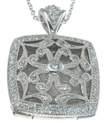 Sterling Silver Antique Vintage Style Pave' Set Russian CZ Cubic Zirconia Square Locket  - Product Image