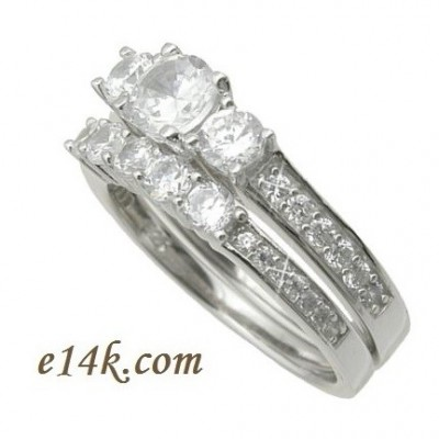Sterling Silver CZ Cubic Zirconia Dainty 1.50 cttw 3 Stone Engagement Ring & Matching Band - Product Image