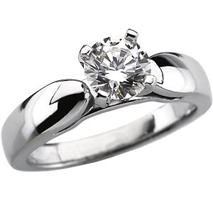 Sterling Silver Cathedral Solitaire Engagement Ring - Product Image