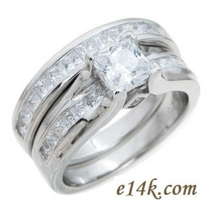 Attractive Sterling Silver Channel Set Princess Cut CZ Engagement Ring And Wedding  Band Cubic Zirconia Ring Photo