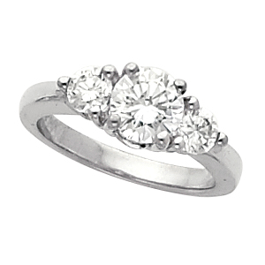 Traditional Sterling Silver Cubic Zirconia CZ 3 stone Wedding Ring