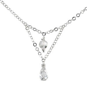 Sterling Silver Dangle Russian CZ Cubic Zirconia Necklace - 16 inch Chain - Product Image