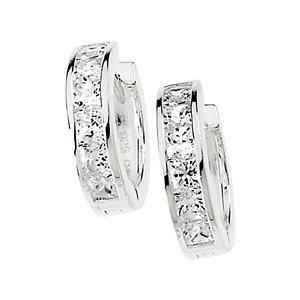 Sterling Silver Huggie Hoop Princess Cut or Round Russian CZ Earrings  - Product Image