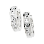 Sterling Silver Huggie Hoop Princess Cut or Round Russian CZ Earrings  - Product Image