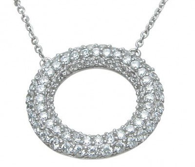 Sterling Silver Pave' Set Russian CZ Cubic Zirconia Circle Pendant w/ Chain - Product Image