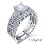 Sterling Silver Princess Antique Inspired Engagement ring with Matching Wedding Band - Product Image