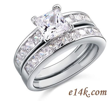 Sterling Silver Princess Channel Set Engagement ring with Matching Wedding Band - Product Image