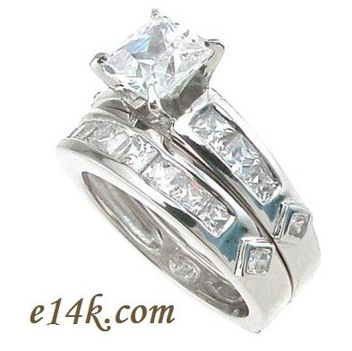 channel rings row with tw carat platinum engagementdetails diamonds engagement two ring set princess cfm