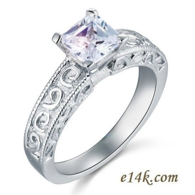 Sterling Silver Princess Cut Antique Style CZ Cubic Zirconia Engagement Ring - Product Image