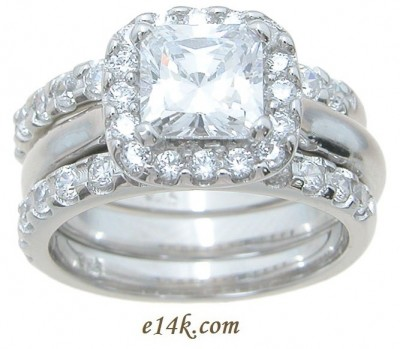 Sterling Silver Princess Cut Halo Style Russian CZ Engagement Ring with 2 matching bands - Product Image