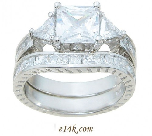 Sterling Silver Princess Trillion Three Stone Engagement with Curved Wedding Band - Product Image