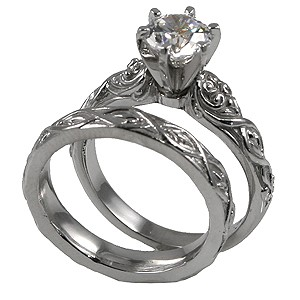 Sterling Silver Round 1 or 2 ct Solitaire Engagement ring with Matching Wedding Band - Product Image