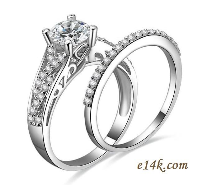 "Sterling Silver Round Brilliant ""Endless Love"" CZ Engagement ring with Matching Wedding Band - Product Image"