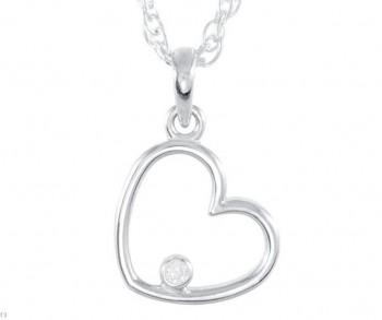 Sterling Silver Round Brilliant Russian *Diamond* Heart Pendant w/ Chain - Product Image