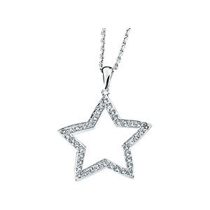 Sterling Silver Round Russian CZ Cubic Zirconia Star Pendant w/ Chain - Product Image