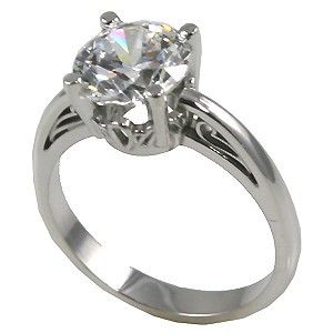 Sterling Silver Russian CZ Cubic Zirconia Antique/Scroll Solitaire Ring - Product Image