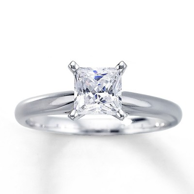 Sterling Silver Russian CZ  Princess Solitaire/Engagement Ring - Product Image