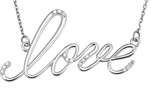 Sterling Silver Russian *Diamond* Cursive Love Pendant w/ Chain - Product Image