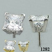 Sterling Silver Scroll Style CZ Princess Cut Cubic Zirconia Earrings - Product Image