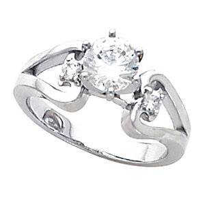 Sterling Silver Solitaire Engagement Ring - Product Image