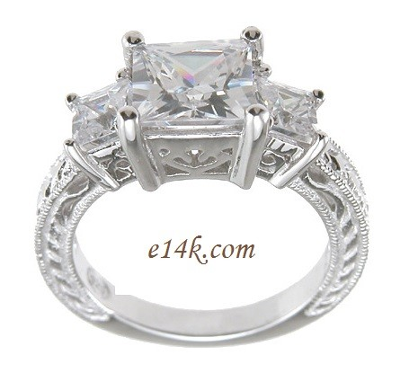 Sterling Silver Three Stone Princess Antique Inspired Engagement ring  - Product Image