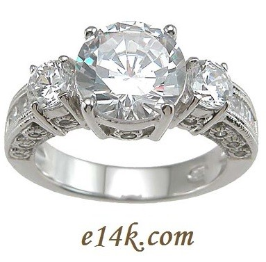Sterling Silver Three Stone Round Brilliant Cut CZ Antique Inspired Engagement ring  - Product Image