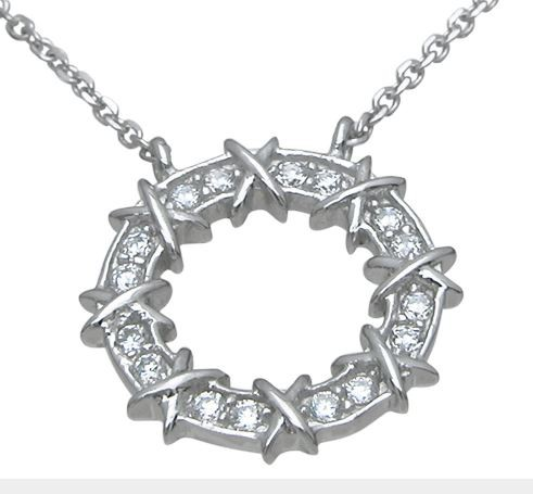 Sterling Silver XOXO Circle Round CZ Pendant w/ Chain - Product Image