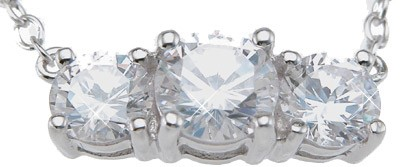 Sterling Silver3 Stone Russian CZ Cubic Zirconia Past Present Future Pendant w/ Chain - Product Image