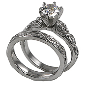 Sterling Silver Solitaire Ring & Wedding Set