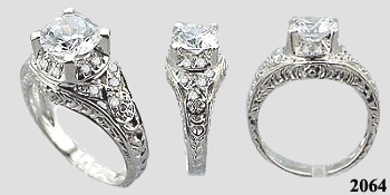 antique rings, russian cz rings, cz white gold rings