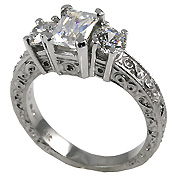 antique emerald cut, cubic zirconia ring