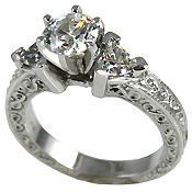 antique trillion ring, cubic zirconia engagement ring