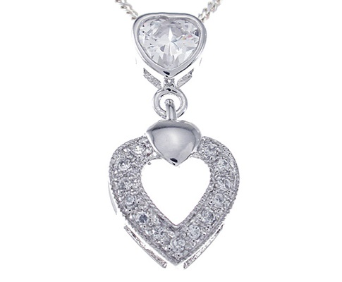 Heart Dangle CZ Pendant