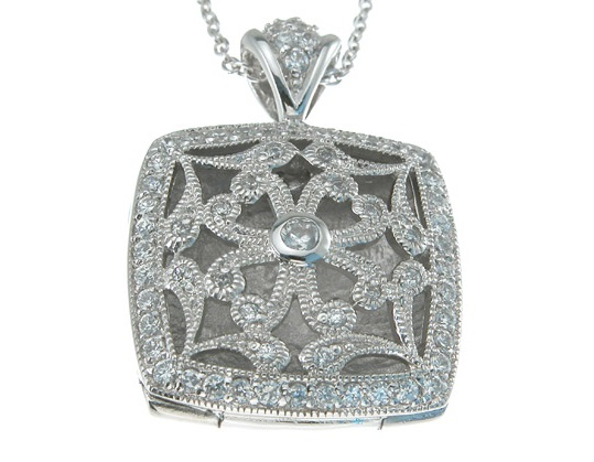 .925  antique style locket CZ Pendant