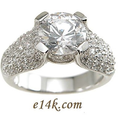 HUGE Sterling Silver Pave' Set Solitaire CZ Ring