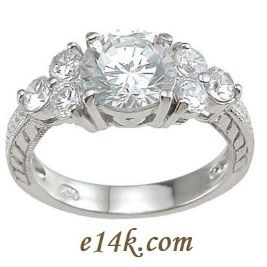 Sterling Silver Antique Cz Ring
