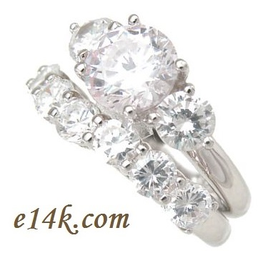 Sterling Silver Round CZ Three stone ring