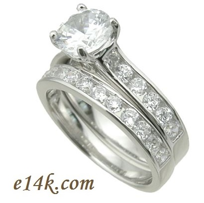 Sterling Silver CZ Cathedral Wedding Set