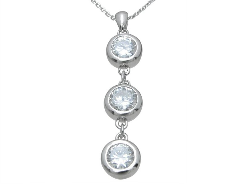 cubic zirconia bezel cz dangle pendant