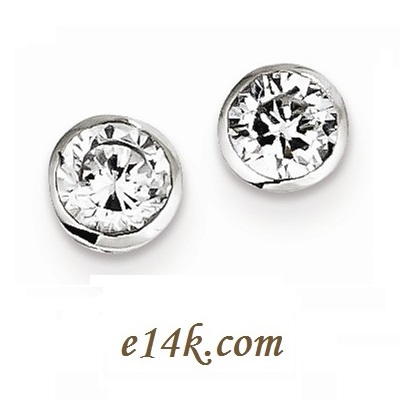 Sterling Silver Bezel Set Cz Earrings