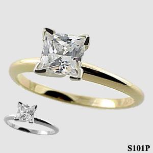 Russian Cubic Zirconia Tiffany Style Princess Cut Engagement Cz Ring